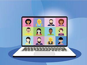 Bild eines Laptops mit Videokonferenz