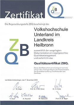 Qualitätszertifikat ZBQ der Volkshochschule Unterland im Landkreis Heilbronn vom 7.11.2019