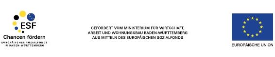 Logos Europäischer Sozialfonds und Europäische Union, gefördert vom Ministerium für Wirtschaft, Arbeit und Wohnungsbau Baden-Württemberg aus Mitteln des europäischen Sozialfonds